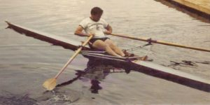 Jim Joy teaching from a single shell at the Craftsbury Sculling Center.