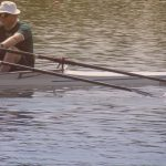 Spencer and Mike sculling in a double